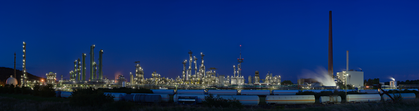 Refinery at night.